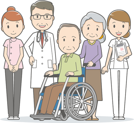 病院のスタッフのシニア カップル  イラスト・ベクター素材