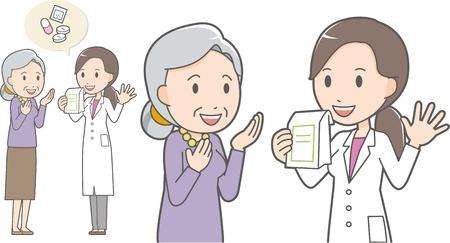Farmacéutico y anciana Ilustración de vector