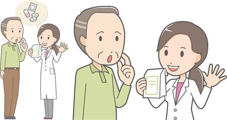 Female pharmacist and old man