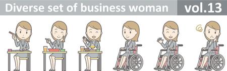 ビジネスの女性は、EPS10 ベクトル形式 vol.13 の多様なセット  イラスト・ベクター素材