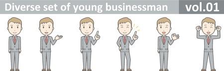 Diverse set of young businessman , EPS10 vector format vol.01