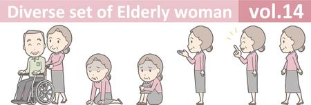 高齢者の女性は、EPS10 ベクトル形式 vol.14 の多様なセット