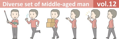 Diverse set of middle-aged man , EPS10 vector format vol.12