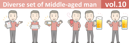 Diverse set of middle-aged man , EPS10 vector format vol.10