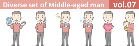 Diverse set of middle-aged man , EPS10 vector format vol.07