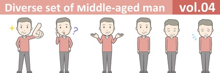 Diverse set of middle-aged man , EPS10 vector format vol.04