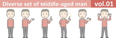 Diverse set of middle-aged man , EPS10 vector format vol.01