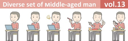 Diverse set of middle-aged man , EPS10 vector format vol.13