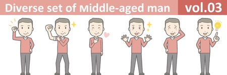 Diverse set of middle-aged man , EPS10 vector format vol.03