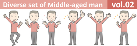 Diverse set of middle-aged man , EPS10 vector format vol.02