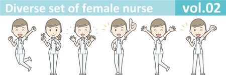 Diverse set of female nurse , EPS10 vector format vol.02