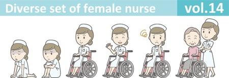 masseur: Diverse set of female nurse , EPS10 vector format vol.14