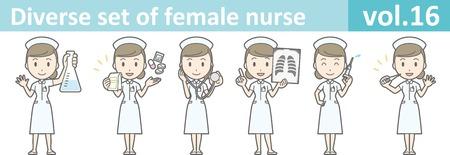 masseur: Diverse set of female nurse , EPS10 vector format vol.16