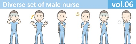 Diverse set of male nurse , EPS10 vector format vol.06