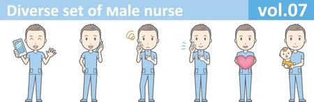 Diverse set of male nurse , EPS10 vector format vol.07
