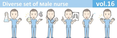 ensemble diversifié d'infirmier, vecteur EPS10 Format vol.16