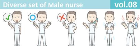 Diverse set of male nurse , EPS10 vector format vol.08
