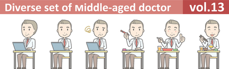 Diverse set of middle-aged male doctor,EPS10 vector format vol.13