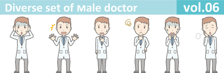 Diverse set of young male doctor , EPS10 vector format vol.06