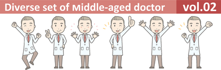 Diverse set of middle-aged male doctor,EPS10 vector format vol.02