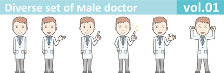 white coat: Diverse set of young male doctor , EPS10 vector format vol.01