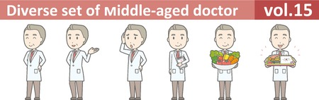 Diverse set of middle-aged male doctor,EPS10 vector format vol.15