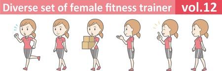 conjunto diverso de instructor de fitness femenino, vol.12 formato vectorial
