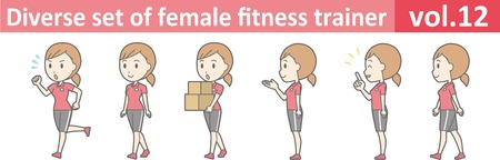 Diverse set of female fitness trainer, vector format vol.12