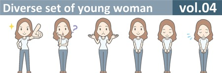 젊은 여성의 다양한 세트, EPS10 vol.04 일러스트