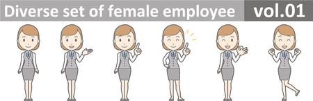 Diverse set of female employee, EPS10 vol.01