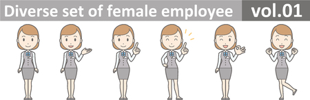 Diverse set of female employee, EPS10 vol.01