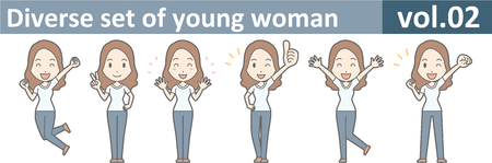Diverse set of young woman, EPS10 vol.02