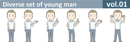 Diverse set of young man, EPS10 vol.01