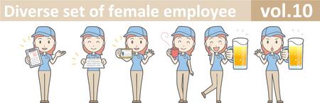Vielfältiger Satz des weiblichen Angestellten, EPS10 Vol. 10 Standard-Bild - 70277398