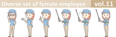 Diverse Reihe von weiblichen Mitarbeiter, EPS10 Vol.11 Standard-Bild - 70277449