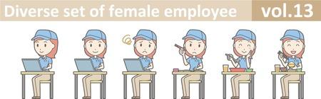 Diverse Reihe von weiblichen Mitarbeiter, EPS10 vol.13 Standard-Bild - 70277455