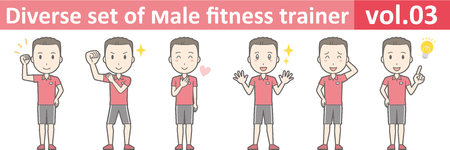 personal trainer: Diverse set of male fitness trainer, EPS10 vol.03