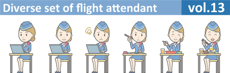Diverse set of flight attendant, EPS10 vol.13