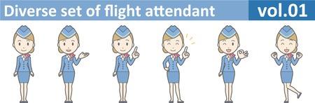 Diverse set of flight attendant, EPS10 vol.01