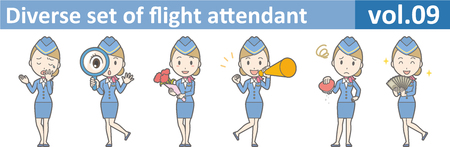 sleepy woman: Diverse set of flight attendant, EPS10 vol.09 Illustration