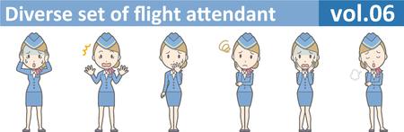cabin attendant: Diverse set of flight attendant, EPS10 vol.06