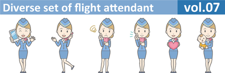 Diverse set of flight attendant, EPS10 vol.07