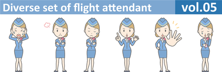 cabin attendant: Diverse set of flight attendant, EPS10 vol.05