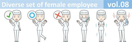 removable: Diverse set of female employee, EPS10 vol.08 (A woman in uniform at a food factory. The mask is removable.) Illustration