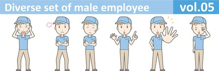 Diverse set of male employee, EPS10 vol.05