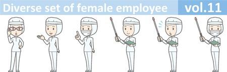 Diverse reeks van vrouwelijke werknemer, EPS10 vol.11 (een vrouw in eenvormig bij een voedselfabriek Het masker is verwijderbaar.) Stock Illustratie