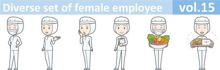 Diverse set of female employee, EPS10 vol.15 (A woman in uniform at a food factory. The mask is removable.)
