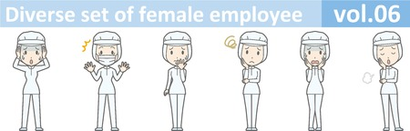 Diverse set of female employee, EPS10 vol.06 (A woman in uniform at a food factory. The mask is removable.) Illustration