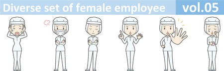 removable: Diverse set of female employee, EPS10 vol.05 (A woman in uniform at a food factory. The mask is removable.)