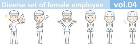 さまざまな種類の女性従業員、EPS10 vol.04 (食品工場の制服を着た女性。マスクは着脱式です。)